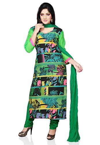 Utsav Fashion Women's Green and Multicolor Art Bhagalpuri Silk Churidar Kameez-