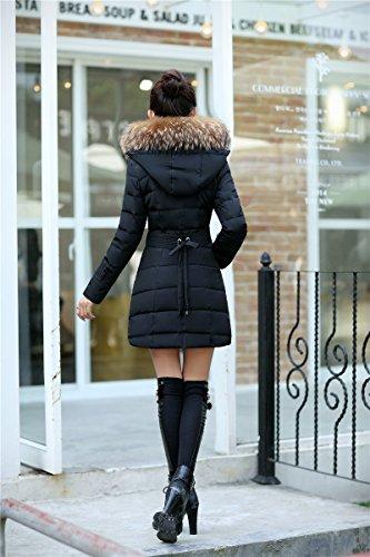 WTUS Femme Manteau à Col épais Mode Outwear Noir