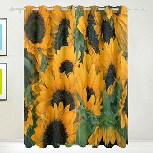 DEZIRO viele Sonnenblumen Polyester Gardinen Panel/Drapes Fenster Vorhang, verdunkelnd,/Zimmer Verdunklung/wärmeisolierendem Sun Block 2Tüllen Elementen Set 8Pro Panel waschbar 213,4x 139,7cm -