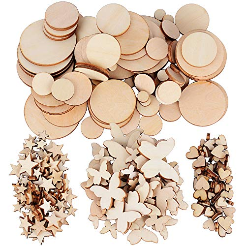 Jnch 200pz legno fette grezzo naturale dischi decorativi abbellimenti decorazione per matrimonio natale tavolo scrapbooking artigianato fai da te stelle cuore farfalla rotondo (6mm - 50mm)