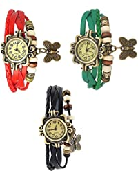 RTimes Red, Black and Green Vintage Designer Leather Set of 3 Multicolor Bracelet Butterfly Watch for Girls, Women