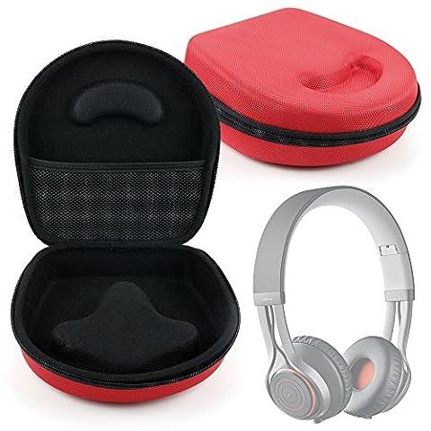 Etui housse rigide de rangement rouge pour casque audio Jabra Move et Revo Casque Audio Supra Auriculaire et KOSS PortaPro, par DURAGADGET