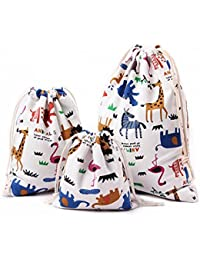 Amoyie 3 Pieces Drawstring Bag for Kids Stuff Cute Reusable Storage Bag for Home or Arts Stuff or Travel (Large 25 x 30 cm, Medium 19 X 23 cm, Little 14 X 16 cm) - Animal