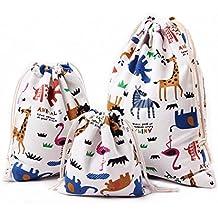 Abaría –3 unidades Bolsa de tela pequeña algodón - Bolsa inserto organizador - Bolsa inserto bebé - Bolsa de tela para ropa - Bolso del pañal del bebé - bolsos para coche, viajar, bebé, colegio, lavandería, juguetes, organización