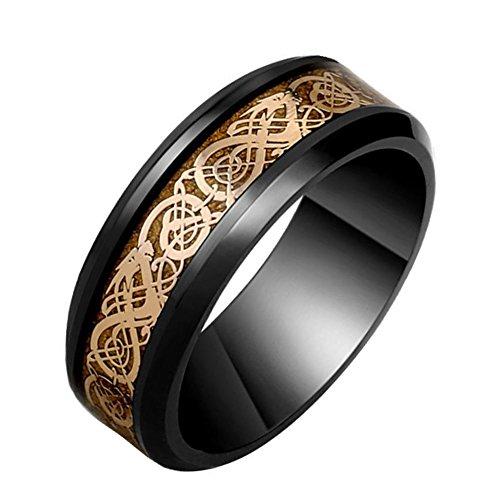 Hijones uomo acciaio inossidabile placcato nero anello di drago celtico in fibra di oro rosa fede nuziale 8mm taglia 12