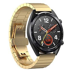 Armband für Huawei Watch GT,Bloodfin Solid Edelstahl Metall Schnellspanner Ersatzarmband metallarmband Edelstahl Ersatzband Smart Watch Schlaufe Uhrenarmband Männer Frauen