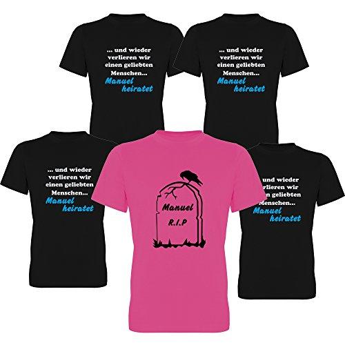G-graphics . wieder verlieren wir einen geliebten Menschen. heiratet & Grabstein RIP mit Name des Bräutigams Junggesellen-Abschied T-Shirts Herren 258.036 (XL, Motiv Begleitung (schwarz))