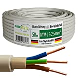 50m NYM-J 3x2,5 mm² Mantelleitung Elektro Strom Kabel OFC MADE IN GERMANY, Model 7368