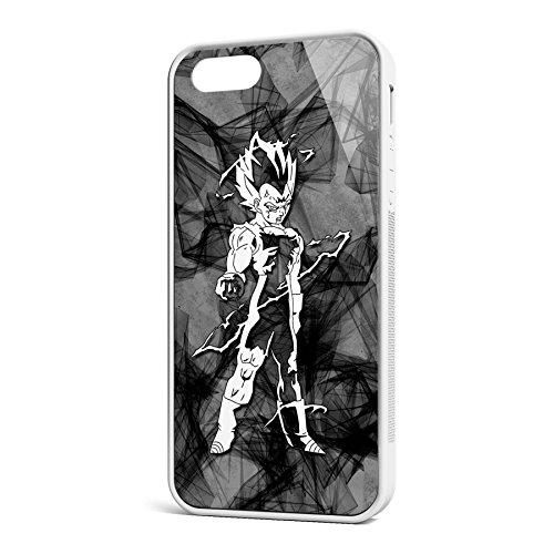 Smartcover Case Vegeta Flash z.B. für Iphone 5 / 5S, Iphone 6 / 6S, Samsung S6 und S6 EDGE mit griffigem Gummirand und coolem Print, Smartphone Hülle:Iphone 6 / 6S schwarz Iphone 5 / 5S weiss