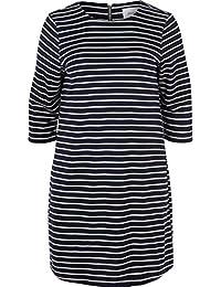 Zizzi Damen Knielang Kleid mit 3 4 Arm Rundhals Alltagskleid, Große Größen  ... 68f2114332