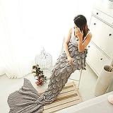 Couverture en laine de sirène à la main, canapé chaleureux Couverture de salon pour les adultes Environ 180cmX80cm (71 pouces X32 pouces) (gris bleu) ( couleur : Gray )