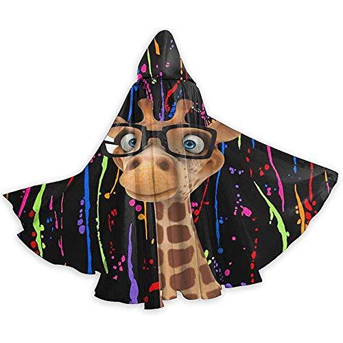 Jasmin-Shop Halloween Umhang, Unisex Cartoon Giraffe mit Brille Lehrer Umhang mit Kapuze Halloween Cape Kostüm Frau Mann Unisex Ganzkörperansicht Kapuzenumhang Vampire Wizard (Tanz Kostüm Für Erwachsene Lehrer)