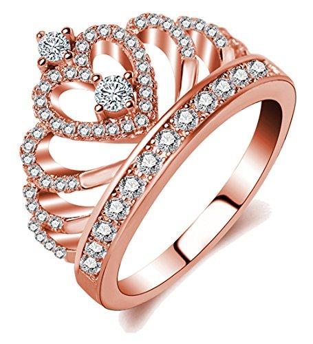 Borong Ring-Damen Frauen Schmuck Krone Tiara Prinzessin Herz mit Rose Vergoldet Zirkonia Verlobungsringe Ehering Geschenk für Mädchen
