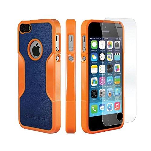 iPhone 5 5s SE Hülle, (Orange, Blau) SaharaCase Schutz Kit Paket mit Null Schaden [ZeroDamage gehärtetes Glas Bildschirmschutz] Robuster Schutz Anti-Rutsch-Griffigkeit [Stoß sicherer Puffer] Schlanke Passform