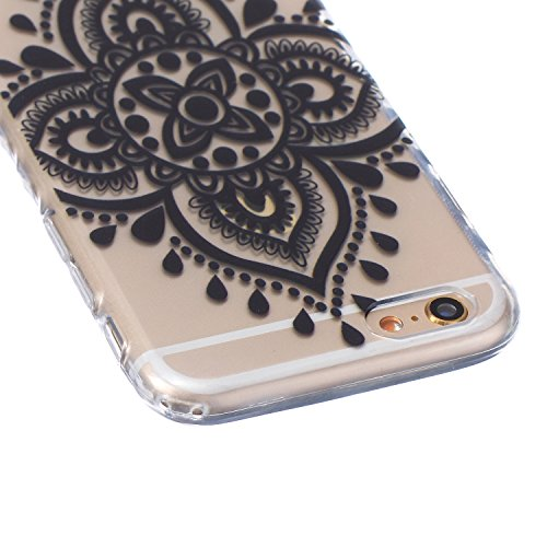Coque Housse pour iPhone 6, iPhone 6 Coque Silicone Etui Housse, iPhone 6s Souple Coque Etui en Silicone, iPhone 6 / 6s Silicone Transparent Case TPU Cover, Ukayfe Etui de Protection Cas en caoutchouc Fleur Dentelle