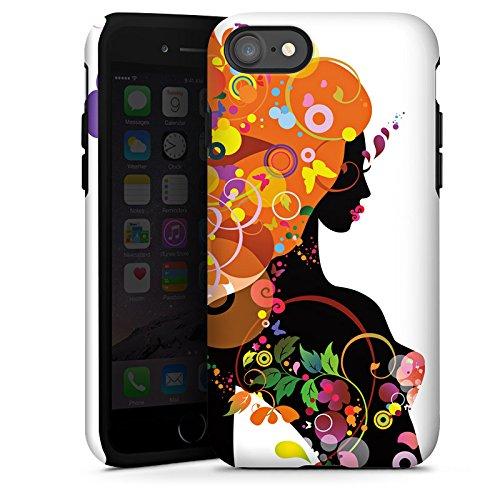 Apple iPhone X Silikon Hülle Case Schutzhülle Frau Schmetterling Blumen Tough Case glänzend