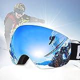 Maschera da Sci Occhiali Snowboard Casco Ski Goggles Moto Anti Fog UV 400 Anti Nebbia Neve di Ventilazione per Adulti Uomo Donna (Grigio, Lente sferica)