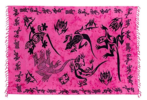 Ca 80 Modelle Sarong Pareo Wickelrock Handtuch Strandtuch Wickelkleid Deko Gecko Bemalt Fair Trade Pink