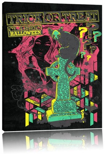 black Leinwandbild Bild auf Leinwand, XXL riesige Bilder fertig gerahmt mit Keilrahmen, Kunstdruck auf Wandbild mit Rahmen, günstiger als Gemälde oder Ölbild, kein Poster oder Plakat, Format:120x80 cm (Halloween Grabstein Zeichnungen)