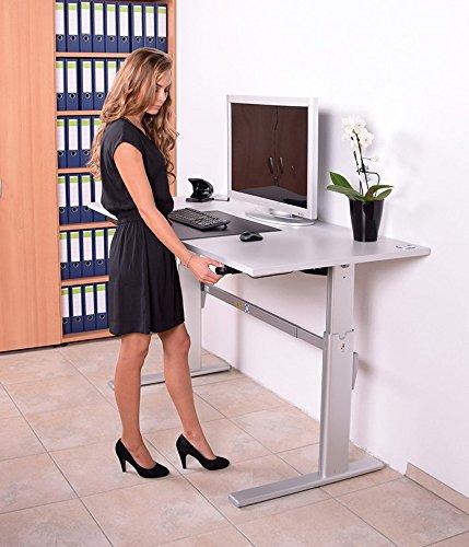 Schreibtisch mit Höhenverstellung in Lichtgrau Ergonomisch Elektrisch B 180 cm x T 80 cm Bürotisch Arbeitstisch Büroschreibtisch - 6