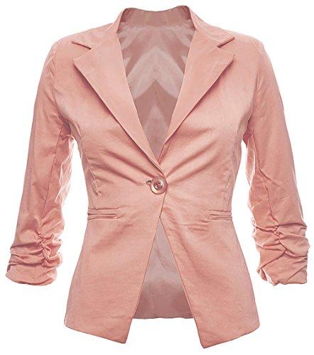 Eleganter Damenblazer Blazer Baumwolle Jäckchen Business Freizeit Party Jacke in 26 Farben 34 36 38 40 42, Farbe:Rosa;Größe:XL-42
