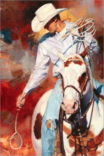 Hartschaumbild 60 x 90 cm: Cowboy im Westernsattel von Julie Chapman/World Art Group
