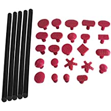 Weylon Auto Paintless desabollador y extractor de 5 negro pegamento 24 color morado pestañas pegamento plástico conjunto herramientas de reparación de abolladuras