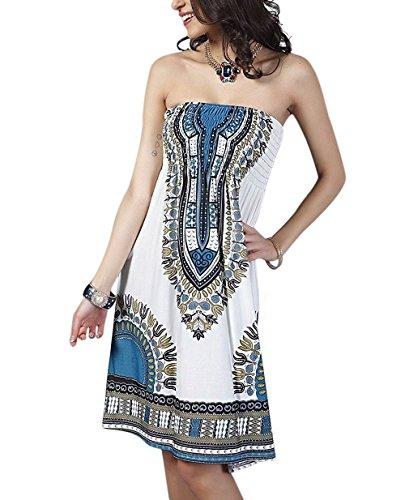7ab2e31f1cde Landove Vestito Corto Floreale Boho Hippie Abito Senza Maniche Donna Etnico  Tribale Sexy Casual Elegante Abiti