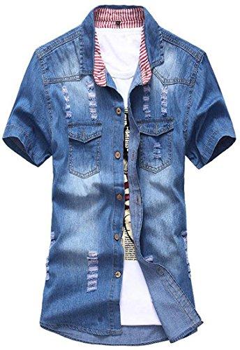 jeansian Herren Mode schlank mit kurzen Sleeves Loch Denim Shirt MAD002 Darkblue