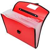 #8: TRANBO Full Expanding A4 Document Organizer with 13 Pockets, Handle, Index Tab (Red)