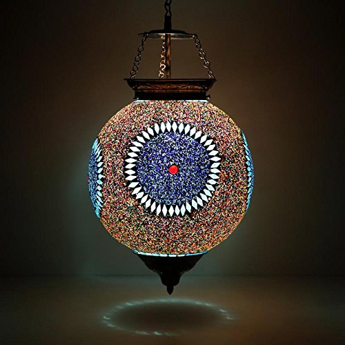 EarthenMetal Handcrafted Beads and Crystal Decorated Mosaic Circular Hanging Light Lamp Shades at amazon