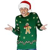 Digital Dudz DDCJGBX - Lebkuchen-Snack Weihnachten Sweater, XL, grün