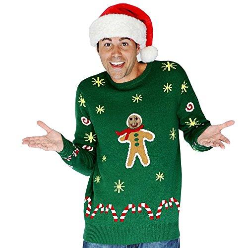 Digital Dudz DDCJGBM - Lebkuchen-Snack Weihnachten Sweater, M, grün