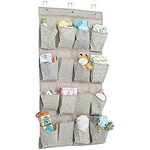 mDesign – Organizador de armarios con 16 bolsillos – Organizador de tela para colgar – Colgador