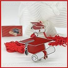 12 Ciondoli in Metallo zama a Forma di Cappello Tocco Rosso e Pergamena con  Nappina Accessori fb9a83e7b333