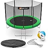 Hop-Sport Gartentrampolin Outdoor Trampolin 244, 305, 366, 430, 490 cm Komplettset inkl. Außennetz Leiter Wetterplane Bodenhaken grün (305 cm)