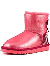 Shenduo Bottes hiver femme cuir, Boots Classiques courtes doublure chaude en laine D9528