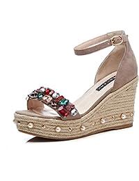 KJJDE Damen Riemchen Wedges Sandalen WSXY-L1610 Mode Stretch Stoff Bogen Pantoffel Atmungsaktiv High Heels Schuhe...