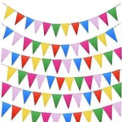 Idea Regalo - JZK 80 Metri bandierine triangolari multicolori festone striscione decorazione Natale Halloween festa compleanno matrimonio battesimo laurea Pasqua giardino