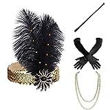 BABEYOND Set Accessori Anni 20 Flapper Fascia Gatsby Collana Perle Guanti Lunghi Porta Sigaretta di Stile Anni 20 per Prom Ballo Feste a Tema Vintage