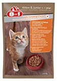 8in1 Katze Nassfutter Kitten & Junior Huhn ( für junge Kätzchen bis 12 Monate, mit Hühnchen in Sauce), 24 x 100 g Frischebeutel, 24er Pack (24 x 100 g)