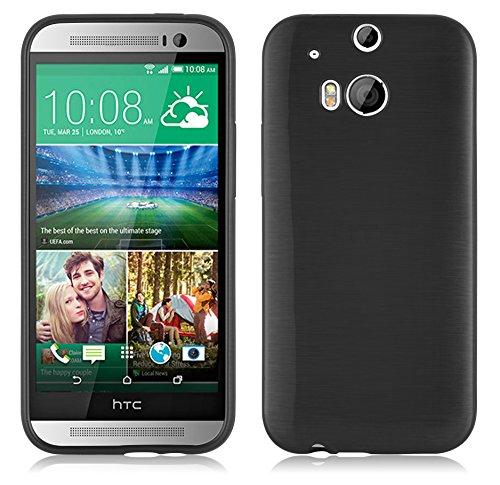 Preisvergleich Produktbild Cadorabo Hülle für HTC ONE M8 - Hülle in Grey - Handyhülle aus TPU Silikon in gebürsteter Edelstahloptik (Brushed) Silikonhülle Schutzhülle Soft Back Cover Case Bumper