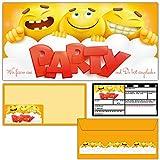 12er Karten-Set SMILEY Einladungskarten mit passenden Umschlägen - coole Emoji Einladungen für Jungen Mädchen Kinder-Geburtstag Party von BREITENWERK®