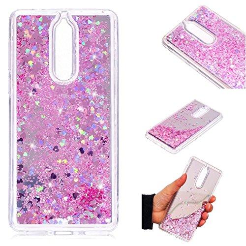 Hancda Hülle für Nokia 8 2017 [Nicht für Nokia 8 2018], Handyhülle Silikon Case Hülle Glitzer Flüssig Bling Glitter Schutzhülle Transparent Spiegel Dünn Cover für Nokia 8 (2017),Rosa Nokia Glitter