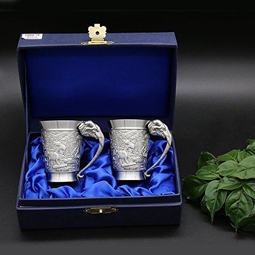 Oriental Zinn–Zinn baijiu Tasse für chinesische Spirituosen (Dose klein)–Pure 97% bleifreies Zinn tbbc7e handgeschnitzt Schöne, geprägt W/Elefanten handgefertigt in Thailand...