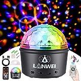 Moukey Luces Discoteca Recargable/Luce Bola de Discoteca con Altavoz Bluetooth y Mando a Distancia, Luz Fiesta Disco Ball con 9 Colores RGB,4W, para Danza,Fiestas,Cumpleaños,Bar LANWEI Series