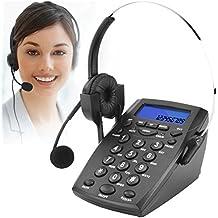 Teléfono Fijo, Call Center Teléfono con auriculares y cable de la grabación