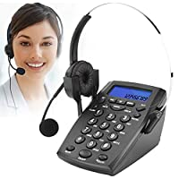 Call Center Telephone with Headset, Corded Phone Business Office Phone with Hands Free Headset, Automatically or manually Answering, Dialpad Headset Telephone with Tone Dial Key Pad & REDIAL