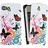 kwmobile Funda para Apple iPhone 4 / 4S - Flip Case para móvil en cuero sintético - Cover plegable Diseño mariposas hippies en multicolor rosa fucsia blanco