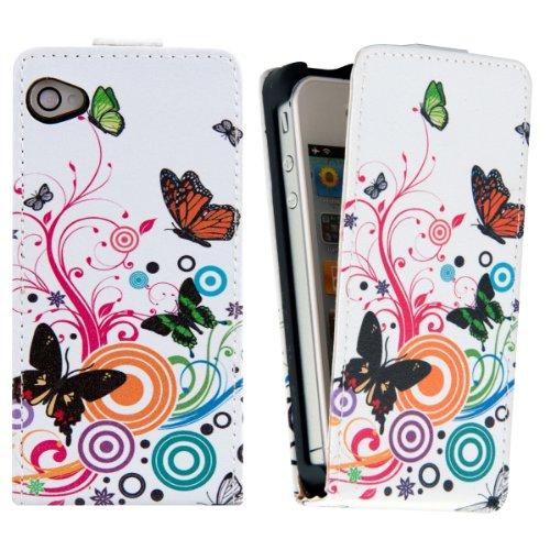 kwmobile Hülle für Apple iPhone 4 / 4S - Flip Case Handy Schutzhülle Kunstleder - Flipcover Cover Schmetterlinge Hippie Design Mehrfarbig Pink Weiß